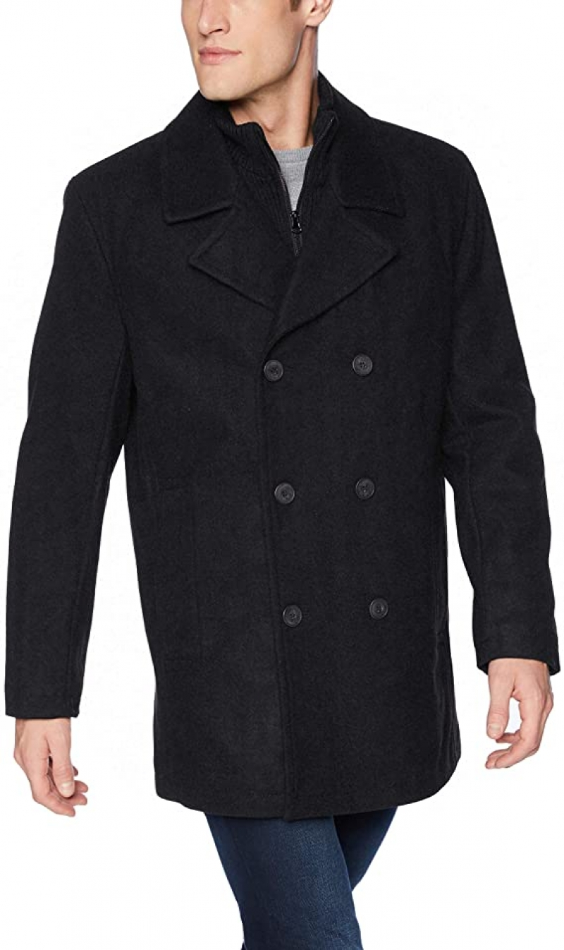 ihocon: Marc New York by Andrew Marc mens Burnett Melton Wool Pea Coat Jacket 男裝羊毛混紡大衣