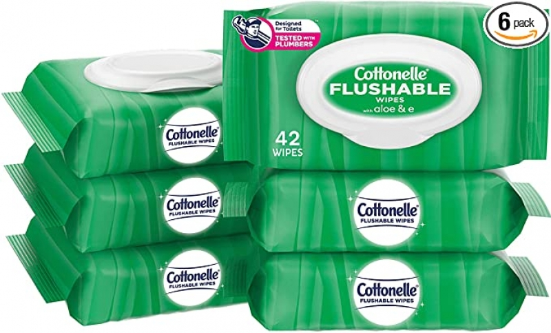 ihocon: Cottonelle GentlePlus Flushable Wet Wipes with Aloe & Vitamin E - 6 Flip-Top Packs (252 Total Flushable Wipes) 可沖入馬桶濕巾
