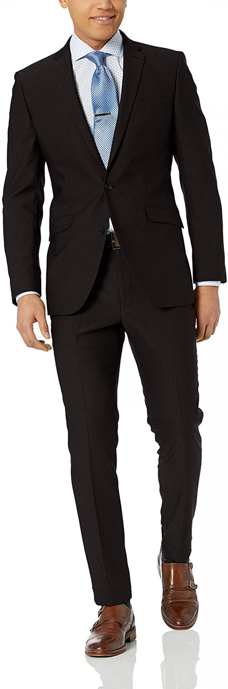ihocon: Unlisted by Kenneth Cole Men's 2 Button Slim Fit Suit with Hemmed Pant 男士西服一套