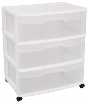 ihocon: Sterilite 29308001 Wide 3 Drawer Cart, White Frame with Clear Drawers and Black Casters, 1-Pack  有輪3抽屜收納箱