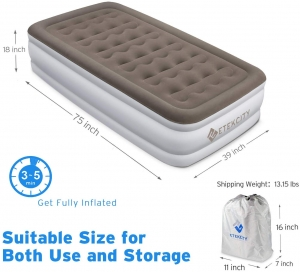 ihocon: Etekcity Upgraded Air Mattress Elevated Raised Guest Bed Inflatable Airbed (Twin) 空氣床