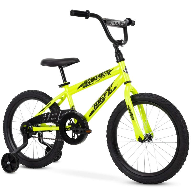 ihocon: Huffy 18-Inch Rock It Boys Bike, Neon Powder Yellow  兒童自行車(可拆輔助輪)