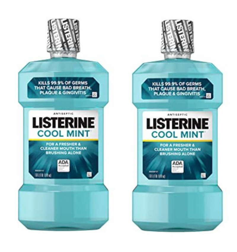 ihocon: Listerine Cool Mint Antiseptic Mouthwash, Cool Mint Flavor, 1 L (Pack of 2) 漱口水