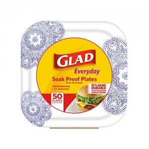 ihocon: 50 Count Glad Square Disposable Paper Plates for All Occasions (Purple Victorian Pattern) 方形紙盤