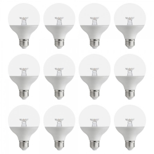 ihocon: EcoSmart 60-Watt Equivalent G25 Dimmable Clear LED Light Bulb Soft White (12-Pack) 光線微調燈泡