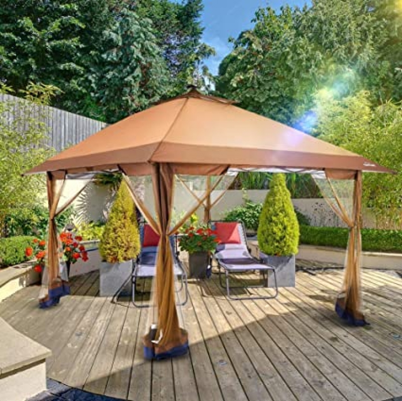 ihocon: Suntime Outdoor Pop Up Gazebo Canopy with Mosquito Netting and Solar LED Light 快速搭建涼亭/雨棚, 含蚊帳及太陽能燈