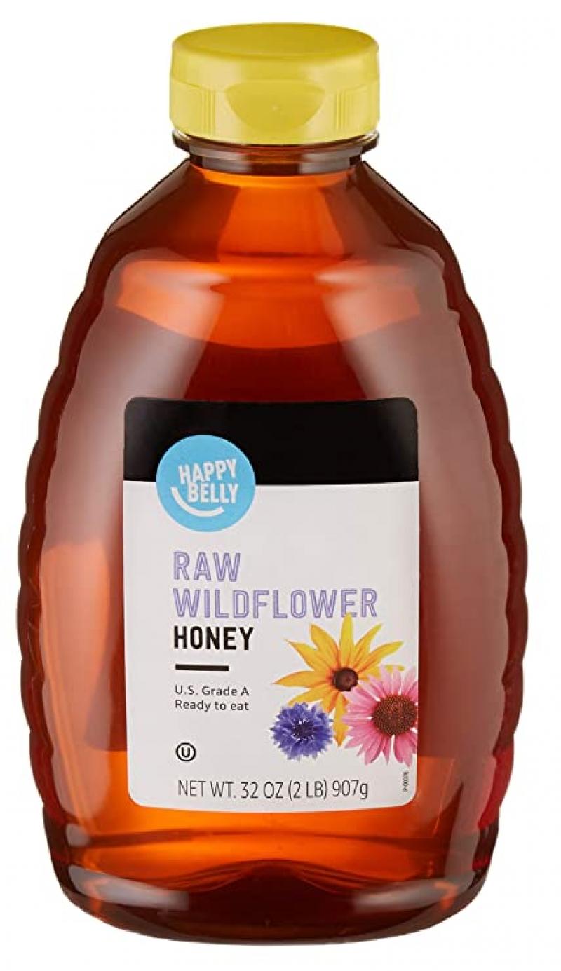 ihocon: [Amazon自家品牌] Happy Belly Raw Wildflower Honey, 32 oz 野花蜂蜜