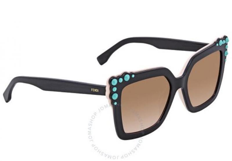 ihocon: Fendi Brown Gradient Square Sunglasses with Turquoise Studs 綠松石太陽眼鏡