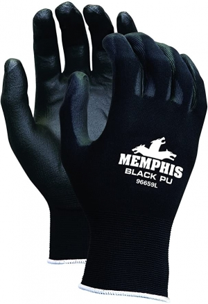 ihocon: MCR Safety 9669L Nylon Knitted Shell MCR Safetys with Black PU Dipped Palm and Fingers 工作/園藝手套