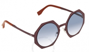ihocon: Fendi Ladies Grey Round Sunglasses 女士太陽眼鏡