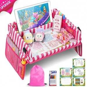 ihocon: Kids Travel Tray with Waterproof Sturdy Dry Erase Top, Bonus Educational Drawing Supplies and Storage Bag 兒童旅行遊戲/繪圖桌