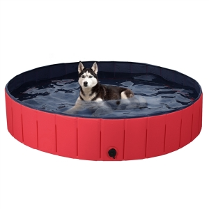 ihocon: SmileMart Foldable Pet Swimming Pool Wash Tub for Dogs Cats, Red, X-Large, 55.1 折疊式寵物泳池