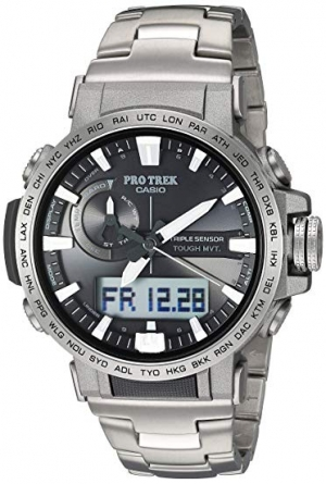 ihocon: Casio Men's Pro Trek Quartz Sport Watch with Titanium Strap, Silver, 22 (Model: PRW60T-7ACR) 卡西歐鈦金男士運動錶