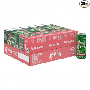 ihocon: Perrier Watermelon Flavored Carbonated Mineral Water, 8.45 Fl Oz (30 Pack) Slim Cans 西瓜口味氣泡礦泉水