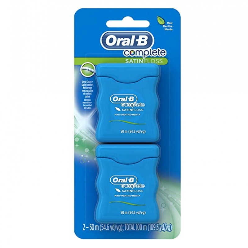ihocon: Oral-B Complete SatinFloss Dental Floss, Mint, 50 M (54.6 yd), Pack of 2 牙線