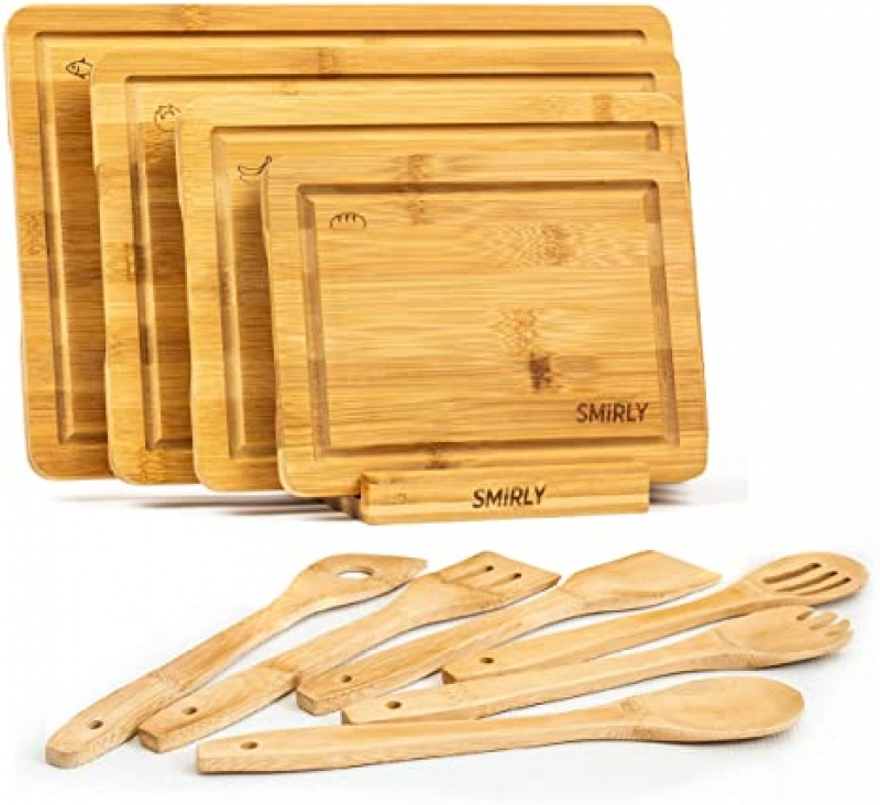 ihocon: Smirly Bamboo Cutting Board Set 切菜板4個