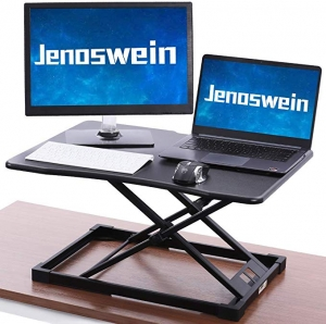 ihocon: Jenoswein Standing Desk Converter with Height Adjustable Sit to Stand 26 Gas Spring 可調高度電腦增高架
