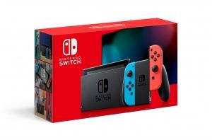 ihocon: Nintendo Switch Console with Neon Blue & Red Joy-Con.