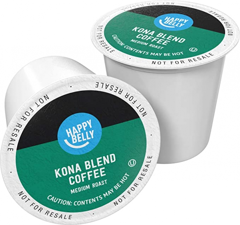 ihocon: [Amazon自家品牌] 100 Ct. Happy Belly Medium Roast Coffee Pods, Kona Blend, Compatible with Keurig 2.0 K-Cup Brewers 咖啡膠囊