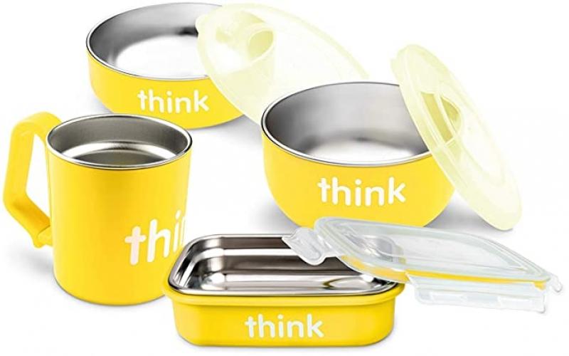 ihocon: Thinkbaby 7-Piece Feeding Set, BPA-Free, Stainless Steel Removable Interior 幼兒餐點不銹鋼盒及杯子