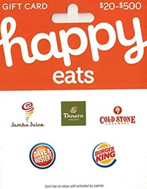 [Amazon限時特價] $50 Happy Gift Card 只賣$42.5 – 可用於Panera Bread, Burger King, Jamba Juice, Dave & Buster's, Cold Stone