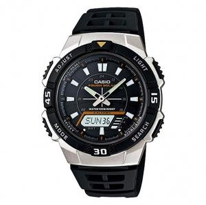 ihocon: Casio Watch Band AQ-S800 Black Rubber Strap Watchband for Tough Solar 5 Alarm 卡西歐太陽能錶, 可設5個鬧鐘