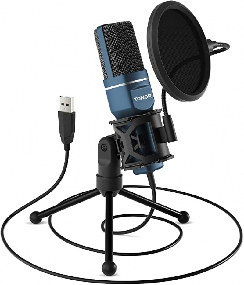 ihocon: TONOR Computer Condenser PC Gaming Mic with Tripod Stand & Pop Filter 麥克風