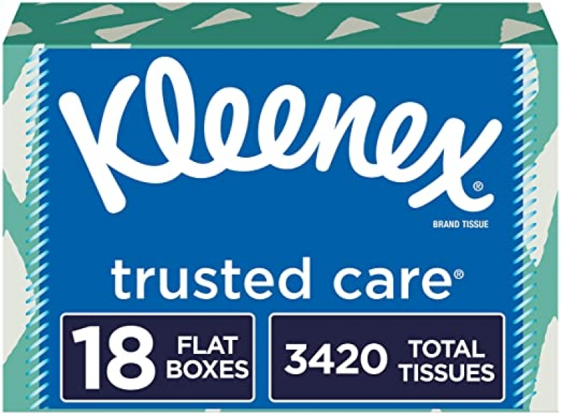 ihocon: Kleenex Trusted Care Facial Tissues, 18 Boxes, 190 Tissues per Box (3,420 Tissues Total) 面紙