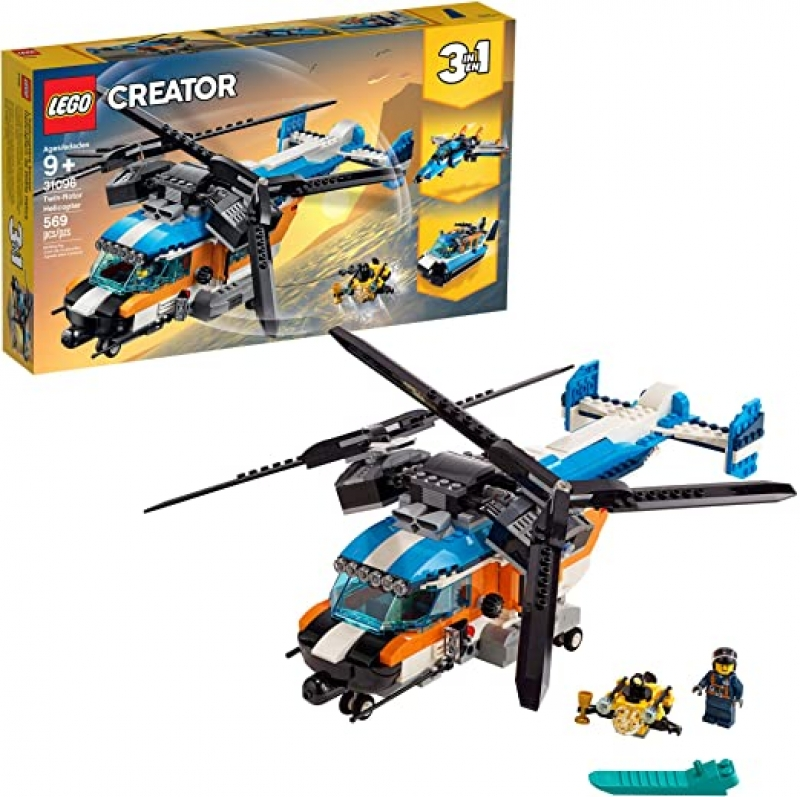ihocon: LEGO Creator 3in1 Twin Rotor Helicopter 31096 Building Kit (569 Pieces) 雙螺旋翼直升機