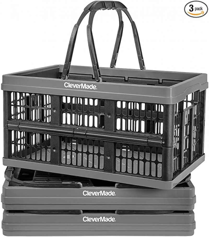 ihocon: CleverMade Collapsible Plastic Grocery Shopping Baskets, Pack of 3 可折疊手提置物籃