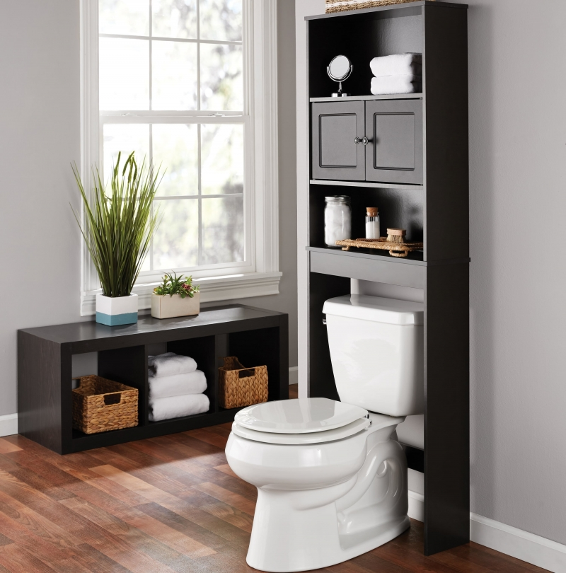 ihocon: Mainstays Bathroom Storage over the Toilet Space Saver with Three Fixed Shelves 浴室置物架