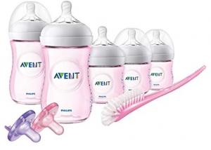 ihocon: Philips Avent Natural Baby Bottle Pink Gift Set, SCD206/11 飛利浦嬰兒奶瓶禮盒