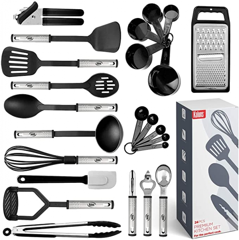 ihocon: Kaluns Kitchen Utensil Set 24 Nylon and Stainless Steel Utensil Set, 廚用小工具套裝