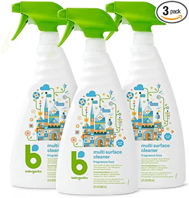 ihocon: Babyganics Multi Surface Cleaner, Fragrance Free, 32oz Spray Bottle (Pack of 3) 萬用清潔劑