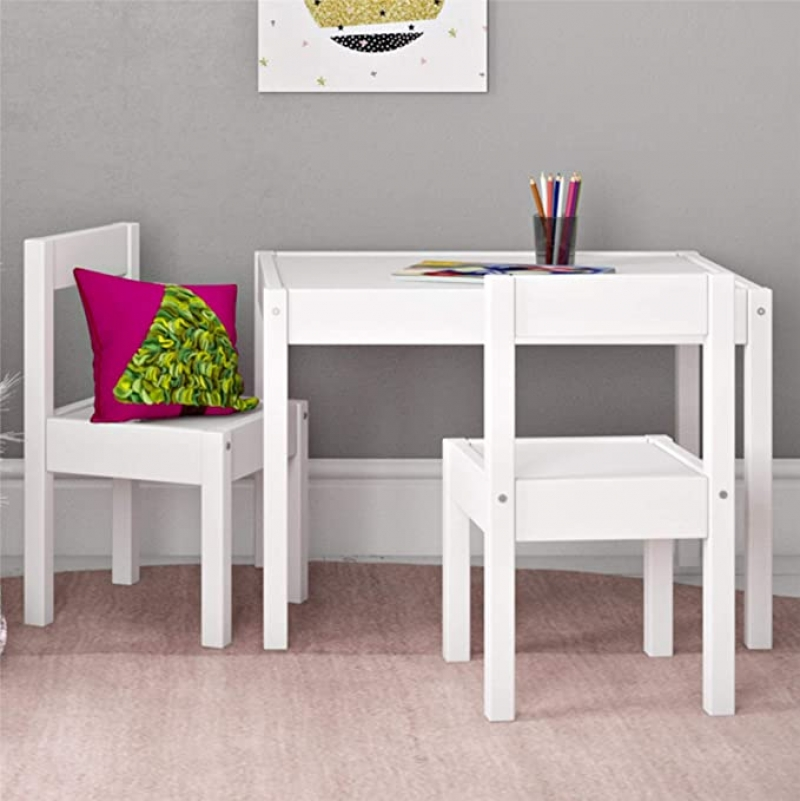 ihocon: Baby Relax Hunter 3 Piece Kiddy Table and Chair Set, White 兒童桌椅組