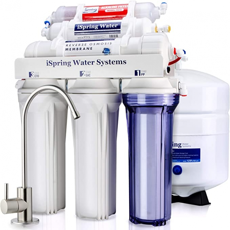 ihocon: iSpring RCC7AK 6-Stage Superb Taste High Capacity Under Sink Reverse Osmosis Drinking Water Filter System with Alkaline Remineralization-Natural pH 六段逆滲透濾水器