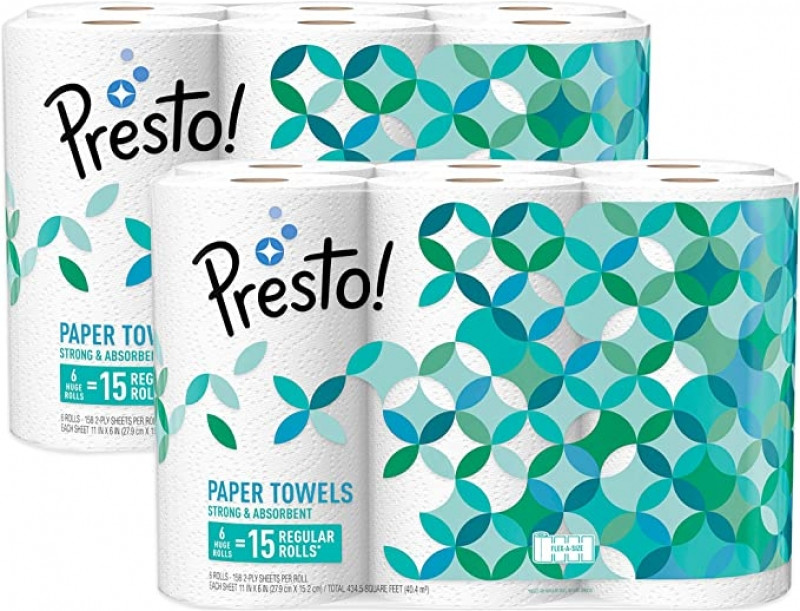 ihocon: [Amazon自家品牌] Presto! Flex-a-Size Paper Towels, Huge Roll, 12 Count = 30 Regular Rolls 廚房紙巾, 12捲等於30捲的份量
