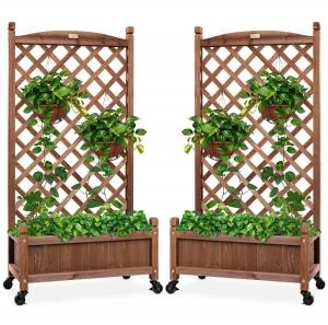 ihocon: Best Choice Products Set of 2 Wood Planter Box & Lattice Trellis w/ Optional Wheels - 48in 有輪木製種植箱含攀爬架