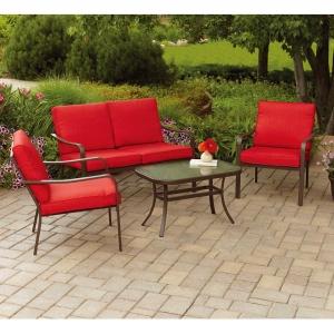 ihocon: Mainstays Stanton Cushioned 4-Piece Patio Conversation Set, Red 庭園傢俱組
