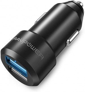 ihocon: RAVPower 24W 4.8A Aluminum Alloy Coated Dual USB Mini Car Charger (Black)汽車充電器