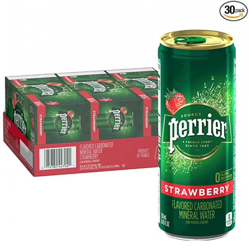 ihocon: Perrier Strawberry Flavored Carbonated Mineral Water, 8.45 Fl Oz (30 Pack) 草莓味氣泡礦泉水