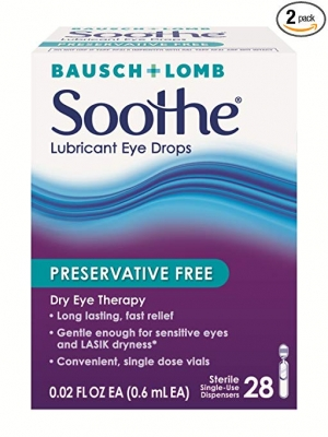 ihocon: Bausch & Lomb Soothe Lubricant Eye Drops, 28-Count Single Use Dispensers (Pack of 2) 博士倫眼睛滋潤滴劑2瓶