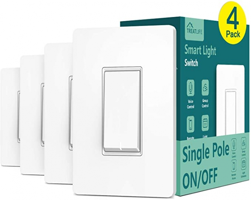 ihocon: [不在家也能遙控電燈] Treatlife Single Pole Wi-Fi Smart Light Switch with Remote Control, 4 Pack 智能電燈開關