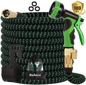 ihocon: Buheco Expandable Garden Hose 100ft with 9 Function Spray Nozzle and Durable 4 Layers Latex-3/4'' 伸縮澆花水管, 含噴水頭