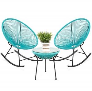 ihocon: Best Choice Products 3-Piece Patio Woven Rope Acapulco Rocking Chair Bistro Set 室外桌子及搖椅-多色可選