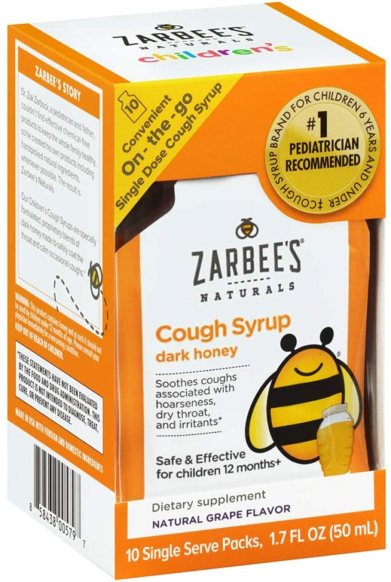 ihocon: Zarbee's Naturals Children's Cough Syrup with Dark Honey, Natural Grape Flavor, 10 Single Serve On-the-Go Packs 兒童止咳糖漿, 1盒10包隨身包