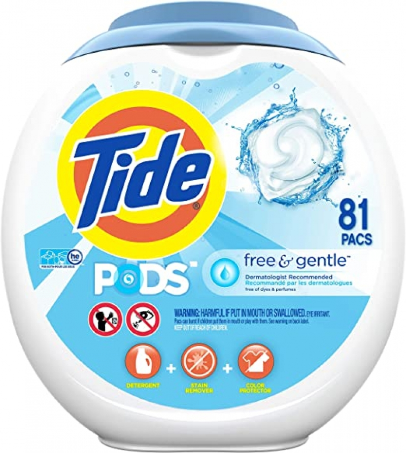 ihocon: Tide Free and Gentle Laundry Detergent Pods, 81 Count, Unscented and Hypoallergenic for Sensitive Skin 洗衣膠囊