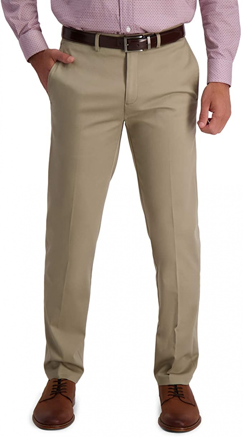 ihocon: Haggar Men's Iron Free Premium Khaki Straight Fit Flat Front Flex Waist Casual Pant 男士免熨休閒褲