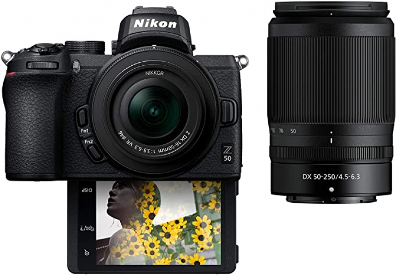ihocon: Nikon Z50 Compact Mirrorless Digital Camera with Flip Under Selfie/Vlogger LCD | 2 Zoom Lens Kit Includes: NIKKOR Z DX 16-50mm f/3.5-6.3 VR & NIKKOR Z DX 50-250mm F/4.5-6.3 VR 無反相機+2個鏡頭