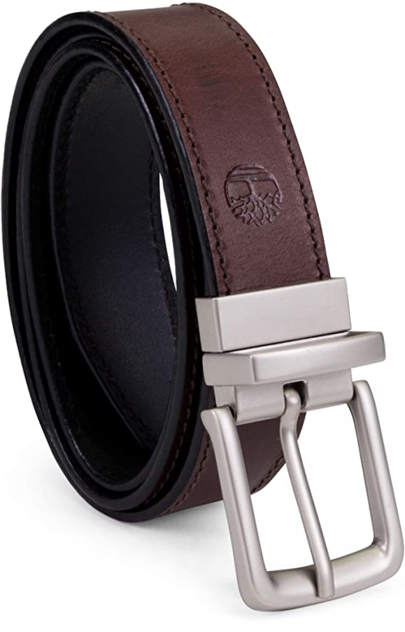 ihocon: Timberland Men's Classic Leather Belt Reversible From Brown To Black 男士黑色/棕色雙面真皮皮帶